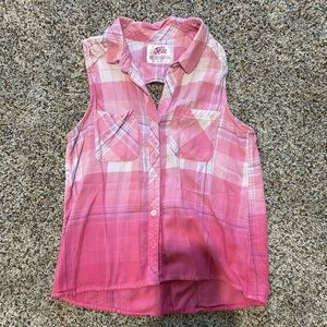Girls Justice sleeveless flannel shirt size 12